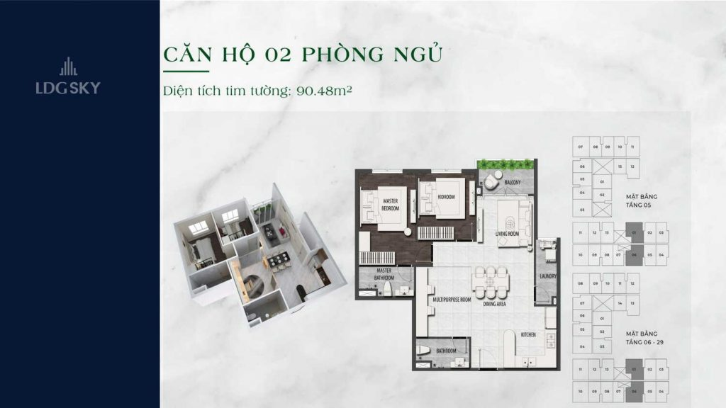 Layout căn hộ 2 Phòng ngủ tại LDG Sky