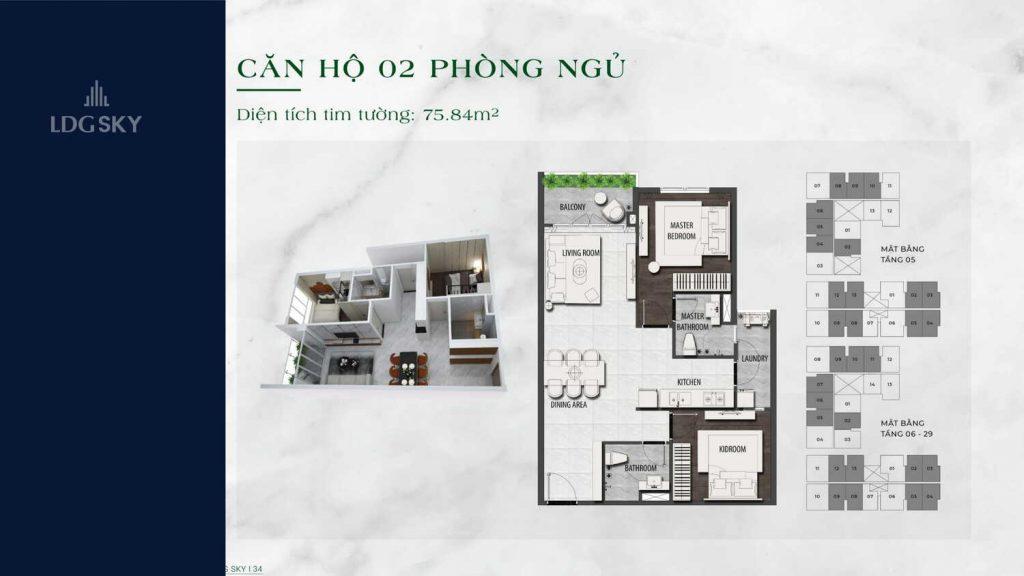 Layout căn hộ 2 phòng ngủ LDG Sky