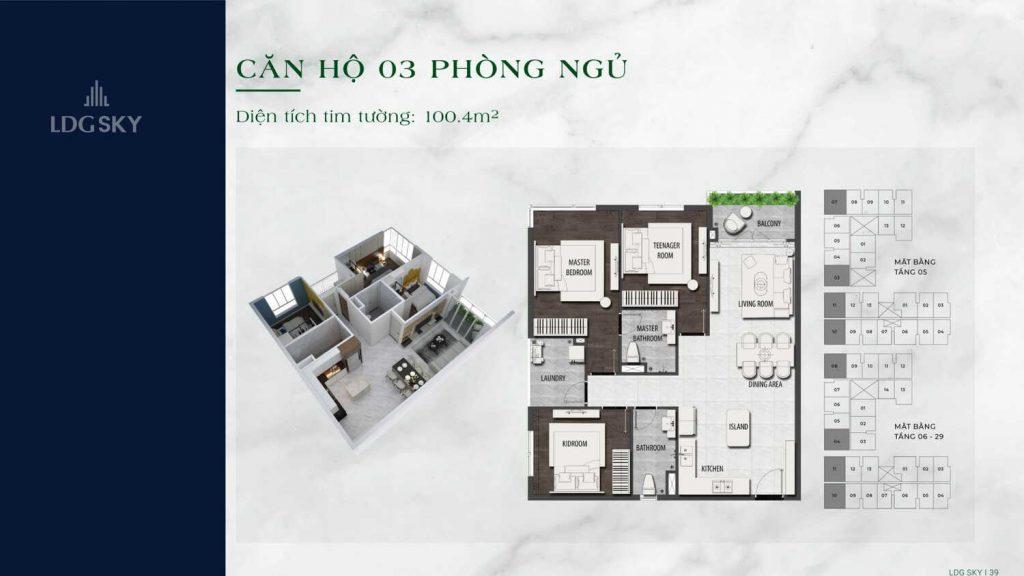 Layout căn hộ 3 Phòng ngủ tại LDG Sky