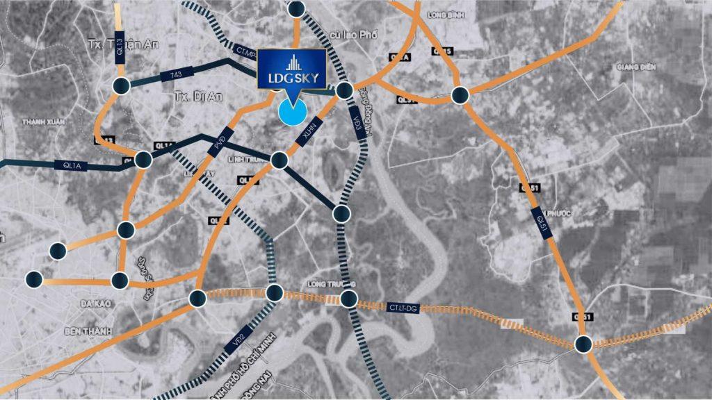 Vị trí dự án căn hộ LDG Sky